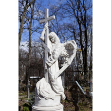 Надгробия памятник из мрамора Ангел с крестом