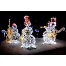 Световая новогодняя фигура Снеговик-музыкант